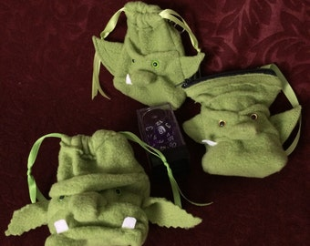 Small Dice Bag, Tiny Orc Goblin Ogre Monster Drawstring Pouch, wristlet purse, moss green, zippered bag, for one set of dice