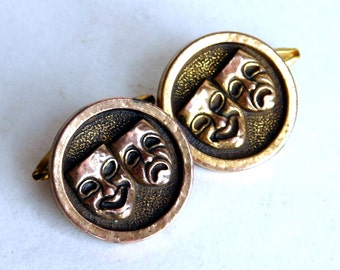 Vintage Theater Mask Brass Button Cuff Links - Greek Comedy / Tragedy Cufflinks - Converts - Chain Link Backs - Mid-Century Men's Accessory