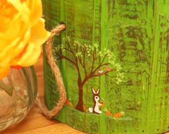 ON SALE limited time READY Hand painted  7 inch picket bucket in green with Bunny tree and carrots