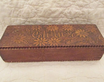 Vintage Wood Pyrography Gloves Box needs TLC SALE