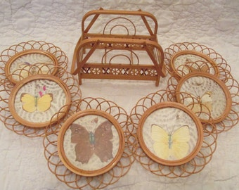 Vintage Coaster Set Butterflies with Holder or stand 1970s 6 coasters