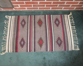 Vintage Beautiful 23x40 New Mexico Chimayo Wool Rug Weaving