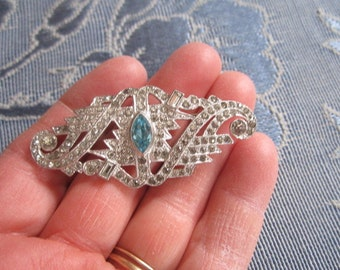 Vintage 1930s Exquisite Art Deco Paste Brooch with Faceted Aqua Glass