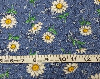 Cotton Denim Daisies on Blue Background over 1-1/2yd
