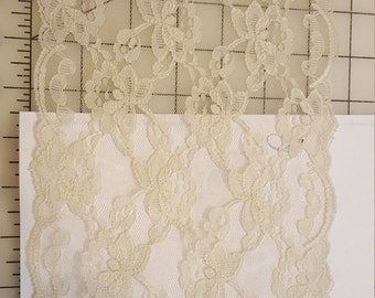 """6-3/4"""" Wide Taupe Grey champage double Scallop Lace BTY"""
