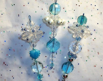Blue Christmas Ornaments Beaded Decoration, Glass and Acrylic, Set of 3 Christmas Dangles (26)