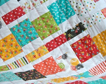 Quilt Baby Toddler Children Nursery Bedding Prairie Bright Squares Scrappy Patchwork Aqua Coral Summer Dots Flowers  Stripes