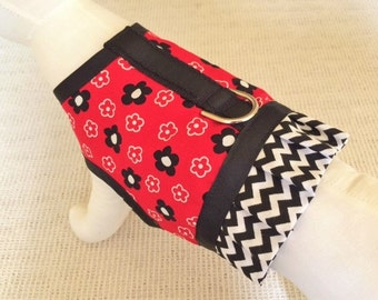 Red And Black Flower Dog Harness Vest