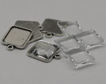 SQUARE Bezel with 15mmX15mm GLASS Magnifying Domes Cabochon - 5 sets 10 pcs  - 21mmx18mm Antique Silver - KB07 - We are USA Seller