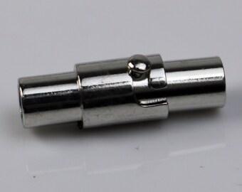 5 pcs Magnetic Barrel Clasps - 3mm Magnetic Clasp with Safety Clasp - Rhodium Magnetic Clasp - Cord Clasp - Barrel Clasp - 3mm Cord Clasp