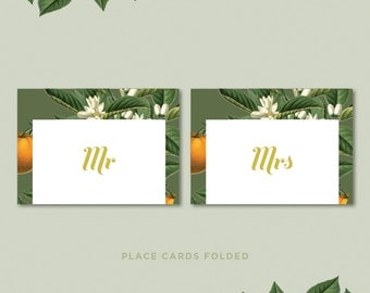 Vintage Botanical Fruit and Floral Wedding Day Place Cards • Orange and Olive Custom Printable Stationery