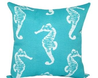 Premier Prints Sea Horse Ocean Decorative Outdoor Pillow - Aqua Blue Seahorse Throw Pillow - Free Shipping