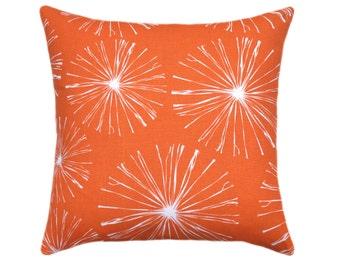 Starburst Orange STUFFED Throw Pillow, Sparks Monarch Decorative Pillow, Orange Accent Pillow, Orange and White Throw Pillow - Free Ship