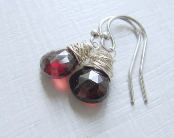 Sterling Silver Red Garnet Earrings Wire Wrapped. Cranberry Earrings. Wire Wrapped  Earrings. January Birthstone. Gifts for Her