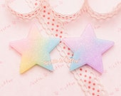 Decoden Cabochon - Glittery Rainbow Gradient Star Cabochon - 6 pieces