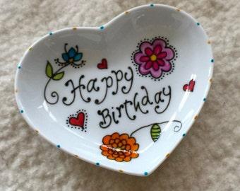Happy Birthday porcelain tray