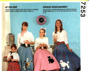 Girls PettiCoat And Pull On Poodle Skirt Cat Guitar Dog Applique Halloween Costume Sewing Pattern