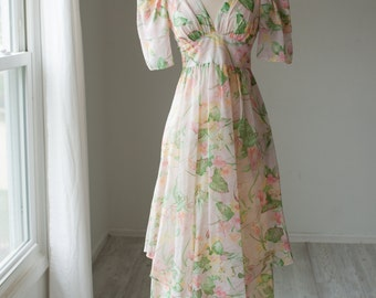Cotton Sheer Floral 70's Maxi Dress XS