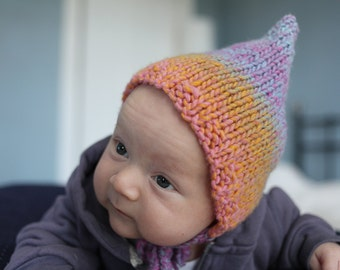 Pixie Hat Knitting Pattern, Easy Knit Baby Hat Pattern, Vintage Style Knitting Patterns for Baby, Instant Download - RAINBOW PIXIE