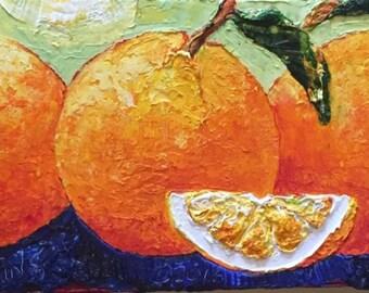 Oranges 8x24  Inch Original Oil Painting by Paris Wyatt Llanso FREE SHIPPING