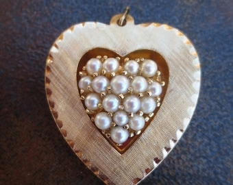 Vintage 14K Gold Pearl Heart Pendant Genuine Fine Jewelry