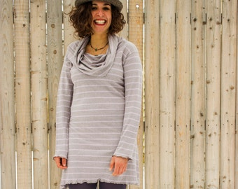 SAMPLE SALE - Size S/M and Size M/L -  Hemp Super Cowl Long Sleeve Dress - Hemp and Organic Cotton Knit - Made to Order - Choose Your Color