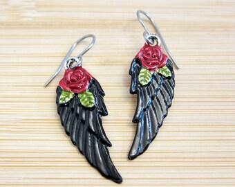Angel Black Wings Red Rose Leaf Earrings Hand Painted