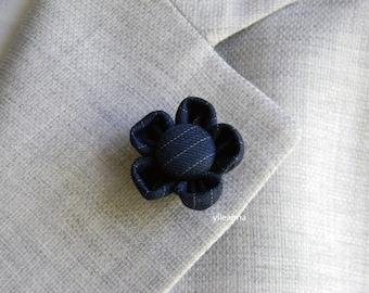 Men lapel pin |  flower boutonniere | Mens accessories | Pinstripe lapel flower | Blue