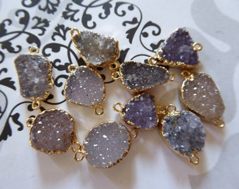 10% Less Valentines Sale .. Druzy Drusy Connector Link Pendant Charm, Drussy Druzzy, 10-25 mm, 24k Gold or Silver Edged, ap31.8 wf bd val