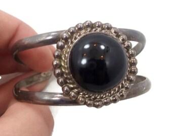 Black Onyx Cuff, Sterling Silver, Taco Mexico, Vintage Bracelet, Heavy Silver, Boho Statement, Bohemian, Black Stone, Big Wide, Unisex
