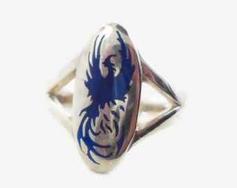 Phoenix Ring, Sterling Silver, Vintage Ring, Bird, Mens Mans, Enameled, Statement Ring, Cobalt Blue, Unique, Size 14 Large, Animal Nature