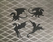 Dragon die cut embellishments in any color set of 4