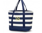 Monogrammed Canvas Tote Bag - Navy Stripe Print - Now Marked 1/2 Price!!