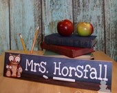 Teacher Owls Personalized DESK PLAQUE Teacher End of Year Christmas Present Gift