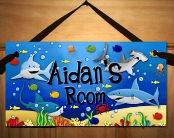 Sharks in the Deep Boys Bedroom DOOR SIGN DS0265
