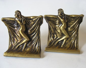 Nude Woman Laquered Brass Bookends by Jefferson Intl NY Deco Lady Dancer with Draped Fabric
