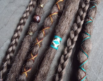 6 Custom Standard *Clip-in Synthetic Dreadlock Extensions Boho Dreads Hair Wraps & Beads (Light Brown 12)