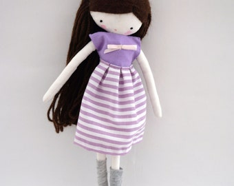 Handmade rag doll , Mia- shirt, skirt and socks ooak cloth art rag doll made to order