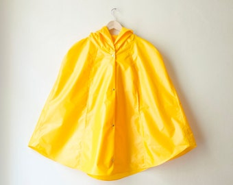Yellow Rain Coat,  Vintage Inspired Cape with Hood, Waterproof, Gift For Her, Available in Violet, Green, Sky Blue, Orange