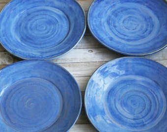 Set of Four Ceramic Dinner Plates Rustic Blue Dinnerware Indigo Pottery Plates Handmade Stoneware Dishes Made in USA Ready to Ship