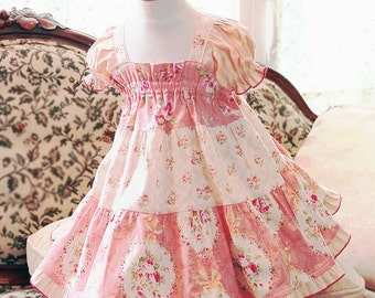Cotton Floral Flower Girl Dress Weddings Family Photos Pink Rose Spring Flower Girl Special Occasion Girls Matching Dresses Family Gathering