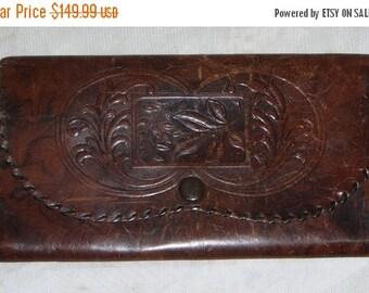 Spooktacular SALE Antique Tooled Leather Clutch Purse England Vintage Edwardian