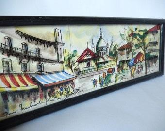 Paris art tile, vintage wall art, wall hanging, Montmartre, Place du Terte, Paris artist Renee, art and collectibles