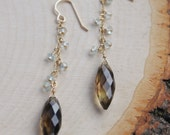 Aquamarine and Lemon/Smokey Quartz Drop Earrings