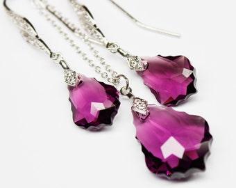Eggplant Jewelry Set, Purple Necklace Earrings, Amethyst Jewelry, Baroque Swarovski Crystal, Bridal Bridesmaids Victorian Jewelry, Cubic Z