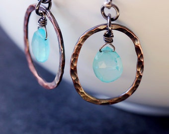 Aqua Chalcedony Teardrop Hammered Copper Earrings with Sterling Silver