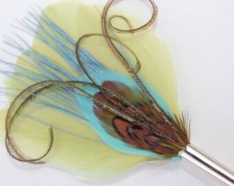 "Women's Hat Pin, Brooch, Feather Boutonniere, Men's Lapel Pin,  ""La la"" - green, aqua, pheasant, blue feathers with silver toned pin base"