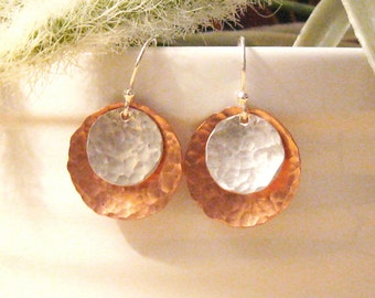 Lunar Eclipse Earrings | Sterling Silver and Copper Dangle Earrings | Handmade Hammered Earrings | Minimalist Rustic | Christina Guenther