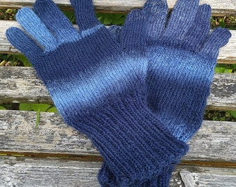 Large Blue Striped Connectivity / Smart Phone Gloves