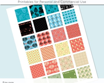 Digital Collage Sheet Coral Yellow Black Blue 1x1 Inch Squares and 1.5 Inch Square for Glass Resin Pendant Charms JPG 1 Inch